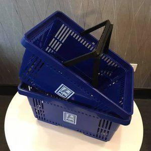"""COPY - Blue """"ALDI"""" Plastic Shopping Baskets w/Han…"""